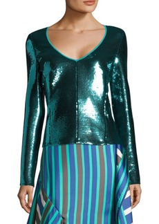 Diane Von Furstenberg Long-Sleeve Sequined Top