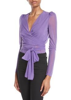 Diane Von Furstenberg Long-Sleeve Sheer Drape Jersey Wrap Bodysuit