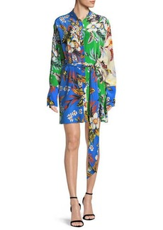 Diane Von Furstenberg Long-Sleeve Silk Floral Shirtdress