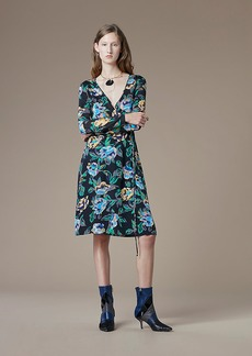 Long-Sleeve Silk Jersey Wrap Dress