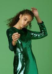 Diane Von Furstenberg Long-Sleeve Tailored Sequin Mini Dress