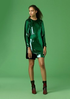 Long-Sleeve Tailored Sequin Mini Dress