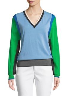 Diane Von Furstenberg Long-Sleeve V-Neck Colorblock Pullover Sweater