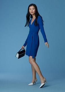 Long-Sleeve V-neck Knit Wrap Dress