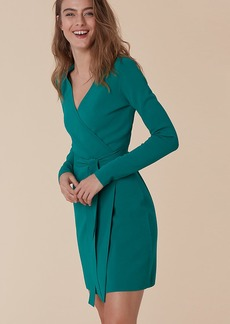 Long-Sleeve V-neck Knit Wrap Dress