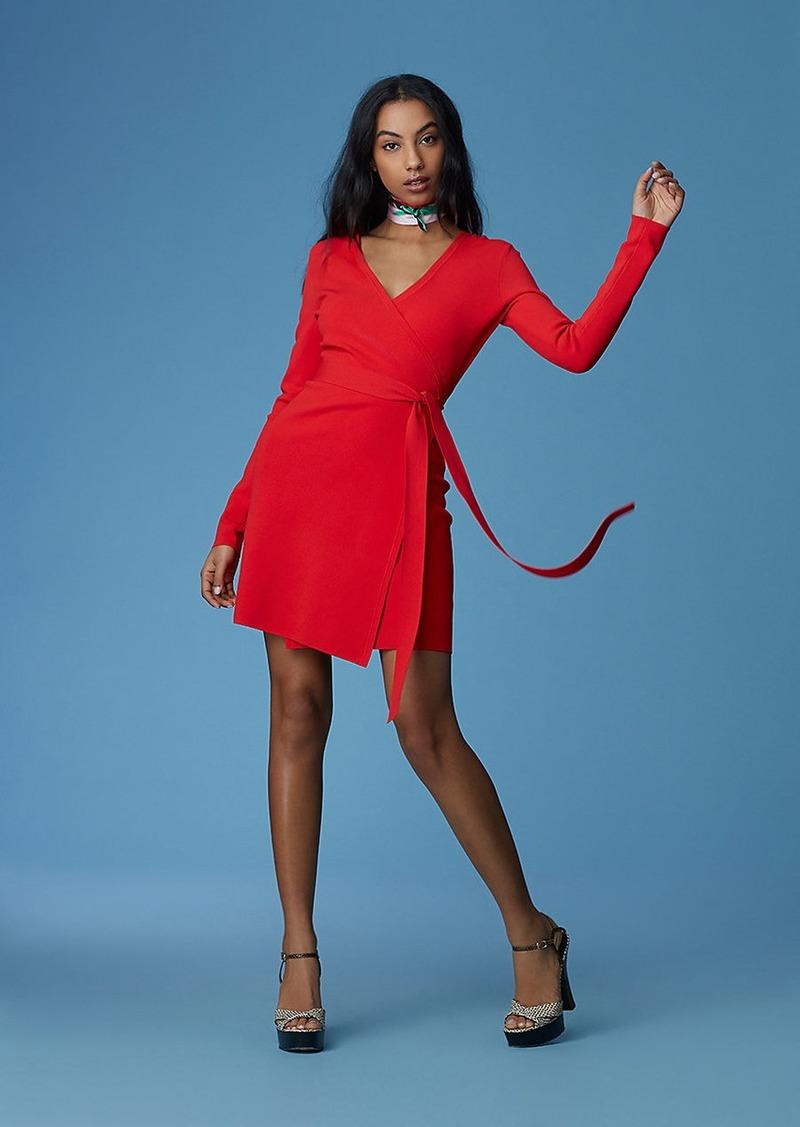 Diane Von Furstenberg Long-Sleeve V-neck Knit Wrap Dress  019704e50