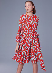 Diane von furstenberg long sleeve waist tie draped midi dress abvba7986e7 a