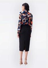 Diane Von Furstenberg Lorelei Chiffon-Blend Collared Shirt in Wax Cloth Floral