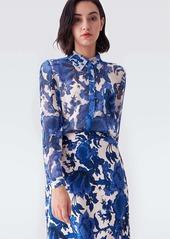 Diane Von Furstenberg Lorelei Chiffon-Blend Collared Shirt in Willow Patterns Pink Blue