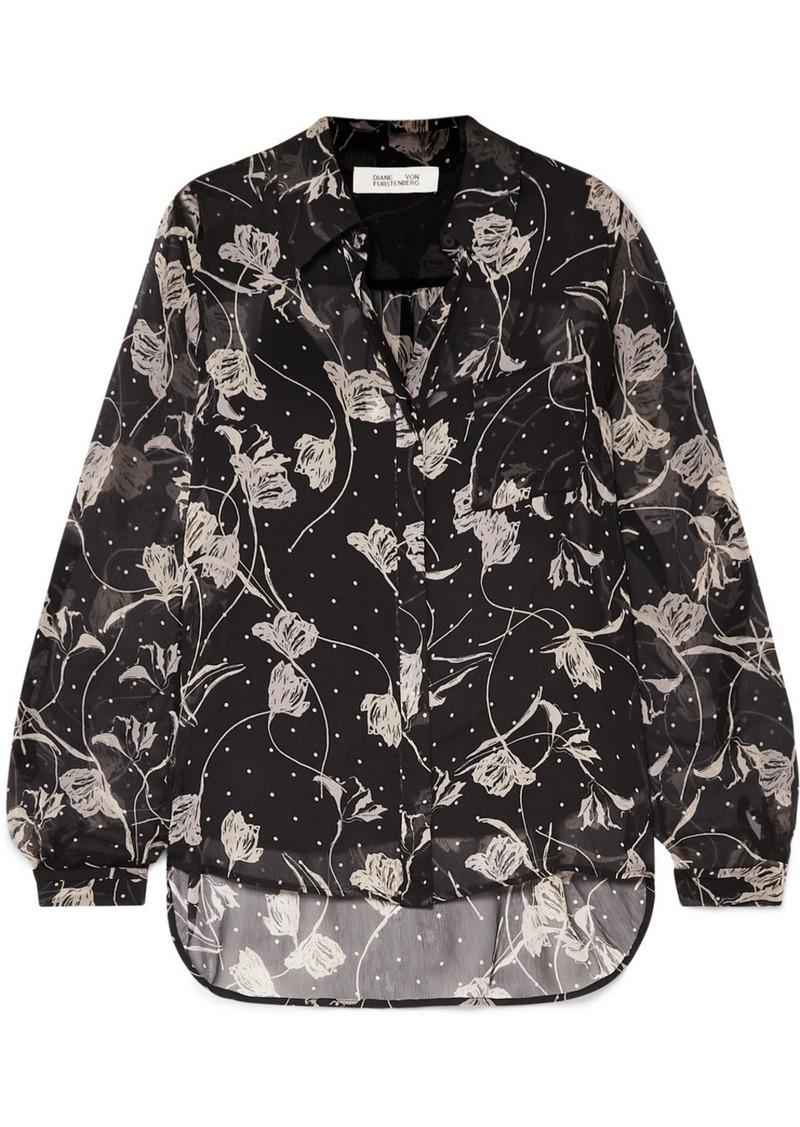 Diane Von Furstenberg Lorelei Printed Silk-chiffon Blouse