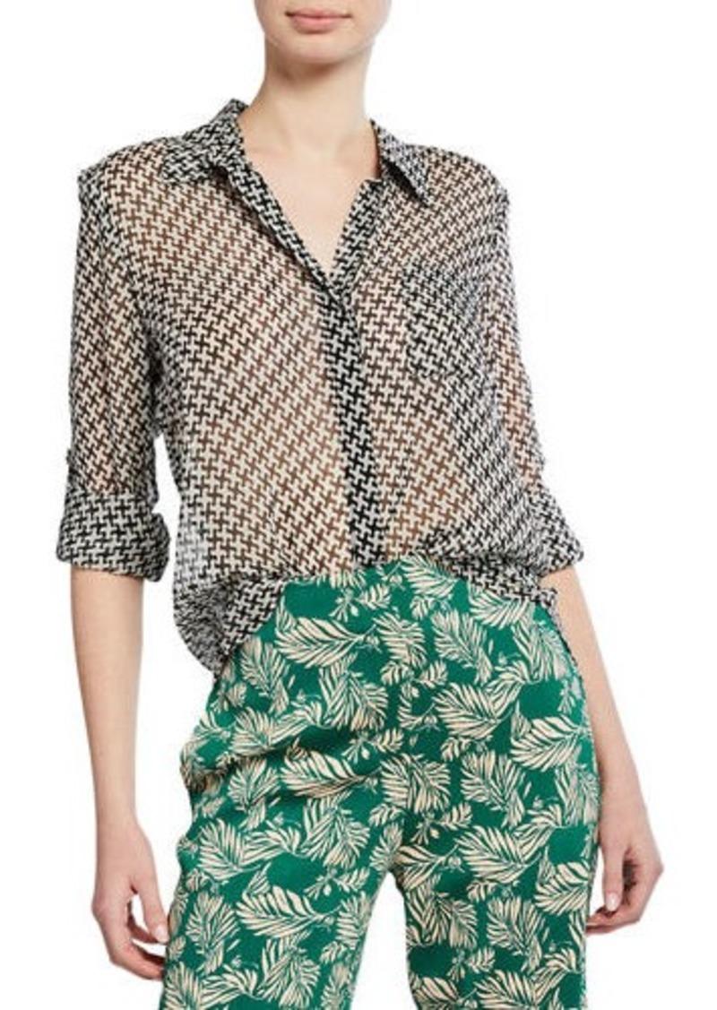 910a1670c2951 SALE! Diane Von Furstenberg Lorelei Two Collared Silk Blouse