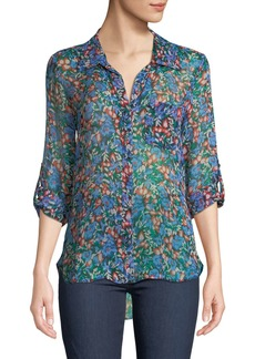 Diane Von Furstenberg Lorelei Two Collared Silk Blouse