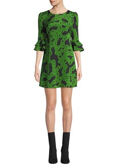 Diane Von Furstenberg Lousie Stretch-Viscose Printed Bell-Sleeve Dress