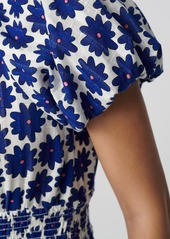 Diane Von Furstenberg Lucy Cotton-Jacquard Cropped Blouse in Daisy Dots True Blue