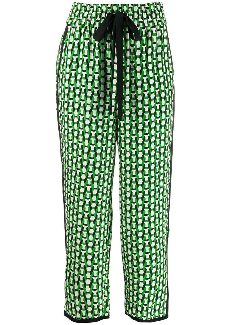 Diane Von Furstenberg Lulu Crepe de Chine cropped trousers