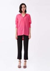 Diane Von Furstenberg Lynn Silk Crepe De Chine Top in Hot Pink