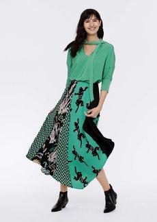 Diane Von Furstenberg Lynn Silk Crepe De Chine Top in Roast Green