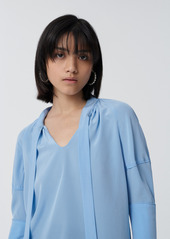 Diane Von Furstenberg Lynne Silk Crepe de Chine Top in Pale Blue