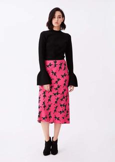 Diane Von Furstenberg Mae Crepe Midi Skirt in Climbing Panther Pink