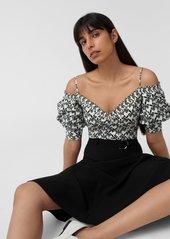 Diane Von Furstenberg Margaret Cotton-Poplin Cropped Blouse in Trellis Medium Black