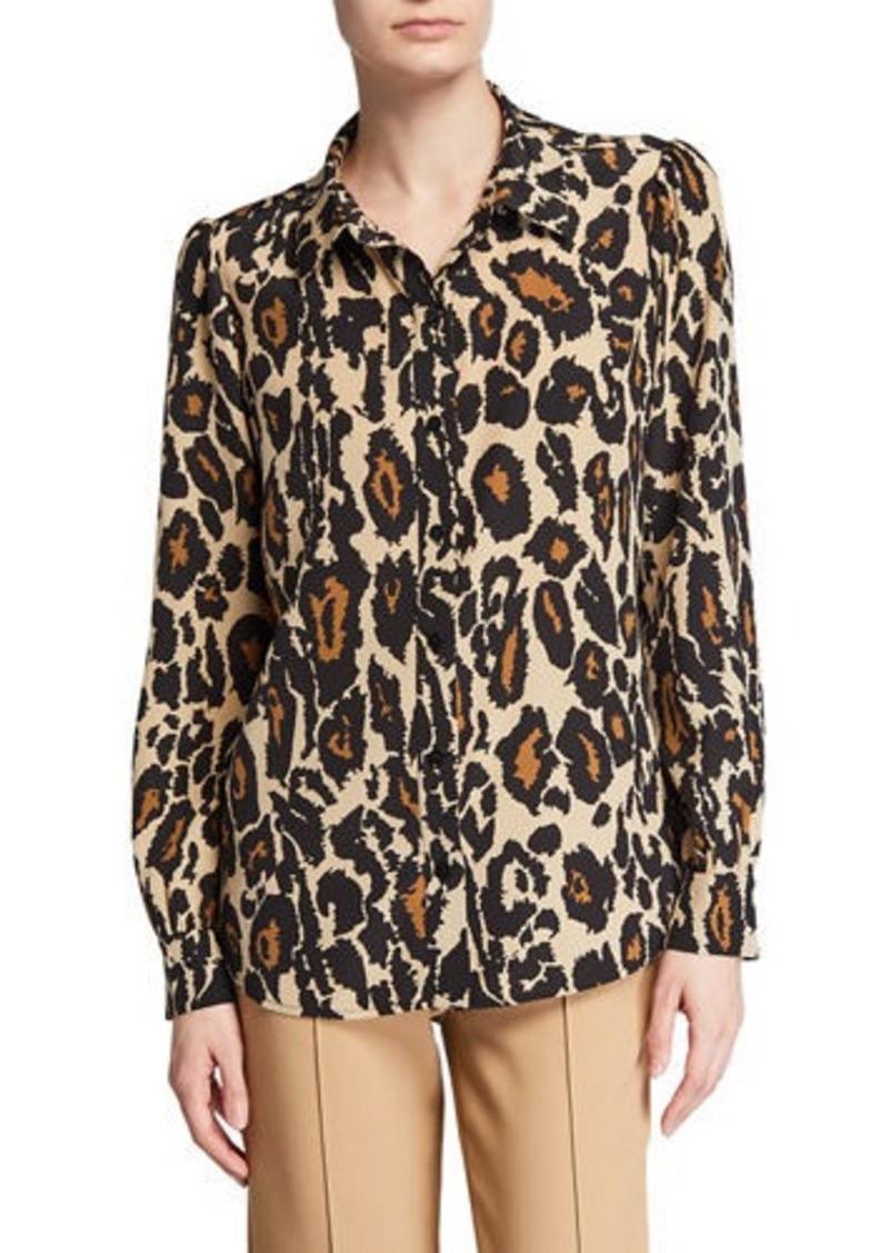 Diane Von Furstenberg Mariah Printed Silk Button-Down Top