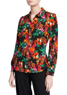 Diane Von Furstenberg Mariah Printed Silk Button-Down Top