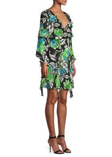 Diane Von Furstenberg Marianna Tiger Lily Silk Ruffle Dress