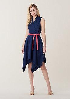 Diane Von Furstenberg Marlene Asymmetrical Cotton Belted Dress