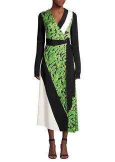 Diane Von Furstenberg Maureen Leaf Silk Midi Wrap Dress