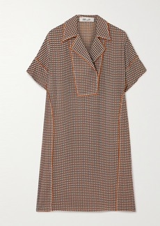Diane Von Furstenberg Maxine Checked Stretch-silk Mini Dress
