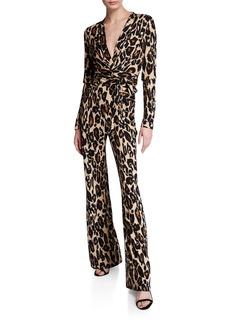 Diane Von Furstenberg Melinda Leopard-Print Jumpsuit