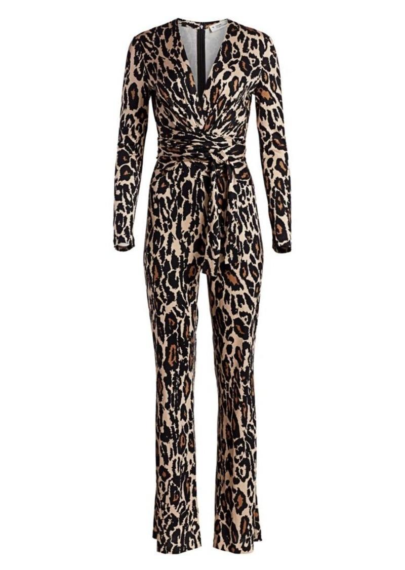 Diane Von Furstenberg Melinda Leopard-Print Silk Jumpsuit