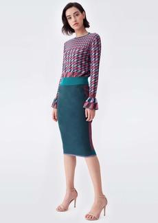 Diane Von Furstenberg Melody Knit Crewneck Pullover in Lavender Green Tartan