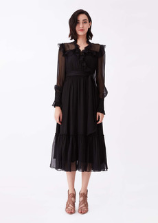 Diane Von Furstenberg Meredith Silk-Chiffon Midi Dress in Black