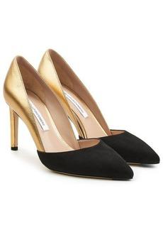 Diane Von Furstenberg Metallic Leather and Suede Pumps