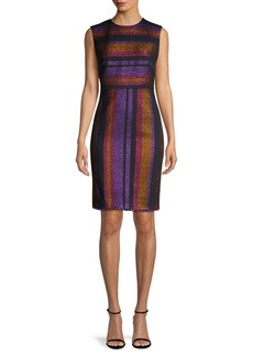 Diane Von Furstenberg Metallic Stripe Sheath Dress