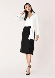 Diane Von Furstenberg Mila Crepe Collared Wrap Dress