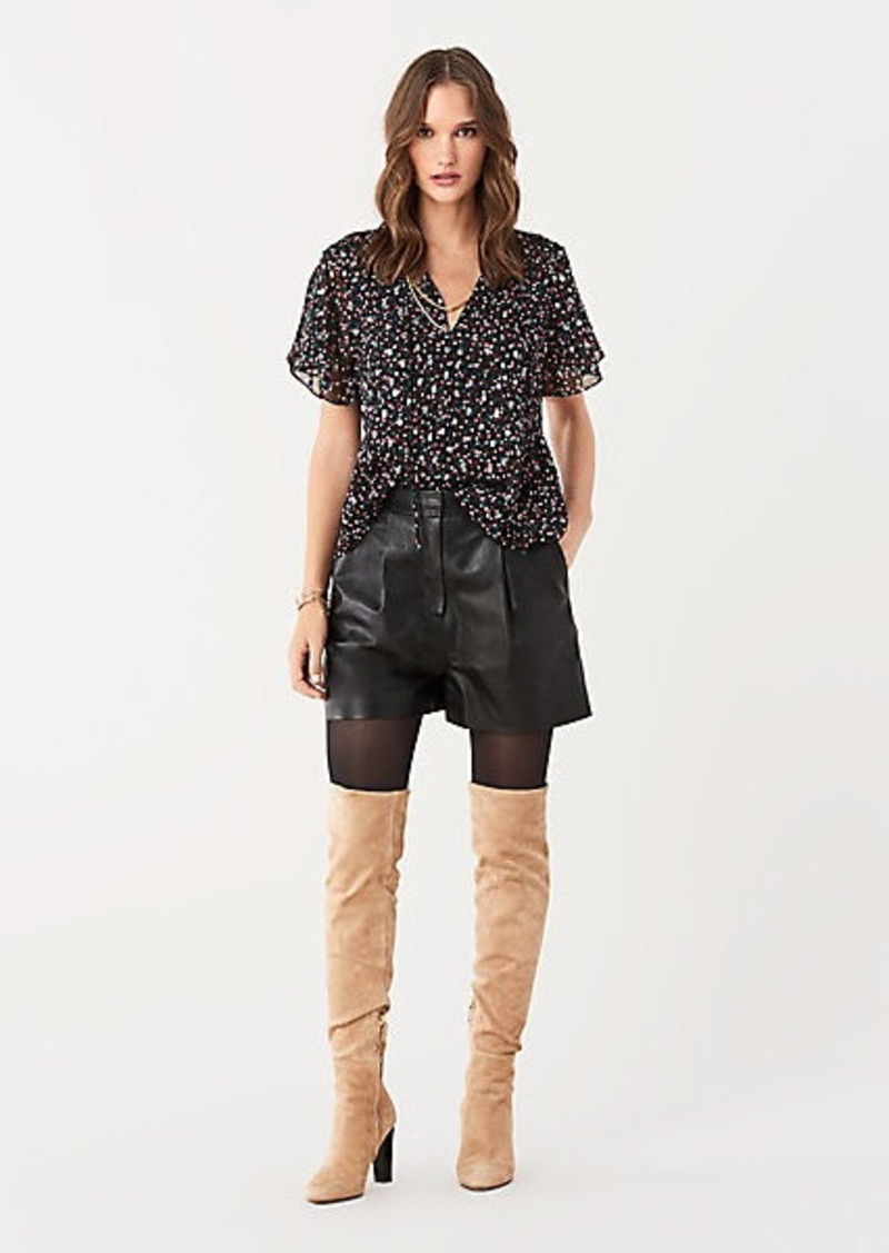 Diane Von Furstenberg Mildred Silk-Blend Peplum Top