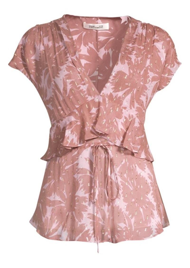 Diane Von Furstenberg Millie Silk-Blend Daisy Print Peplum Top