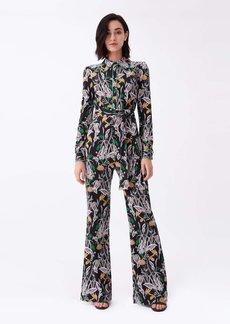 Diane Von Furstenberg Milly Silk-Jersey Wide-Leg Jumpsuit in Bali Flower Black