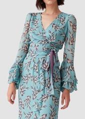Diane Von Furstenberg Miranda Chiffon-Blend Wrap Top in Quincy