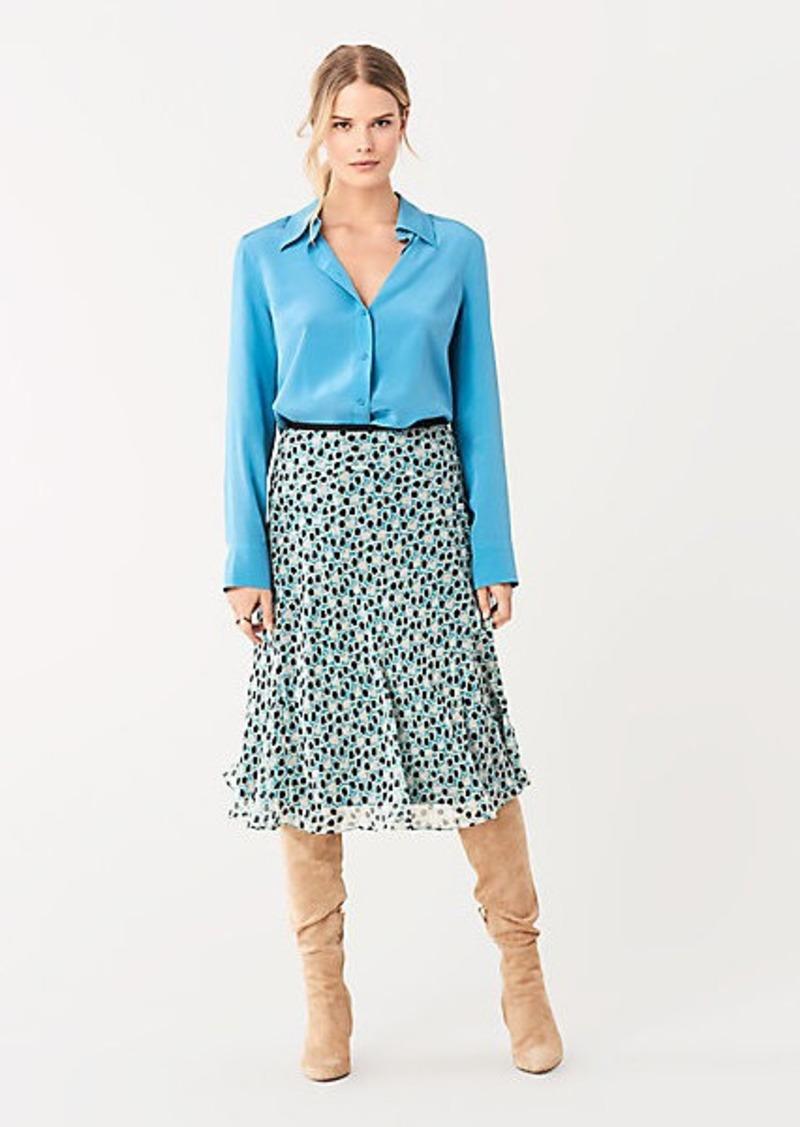 Diane Von Furstenberg Molly Crinkle Chiffon Midi Skirt