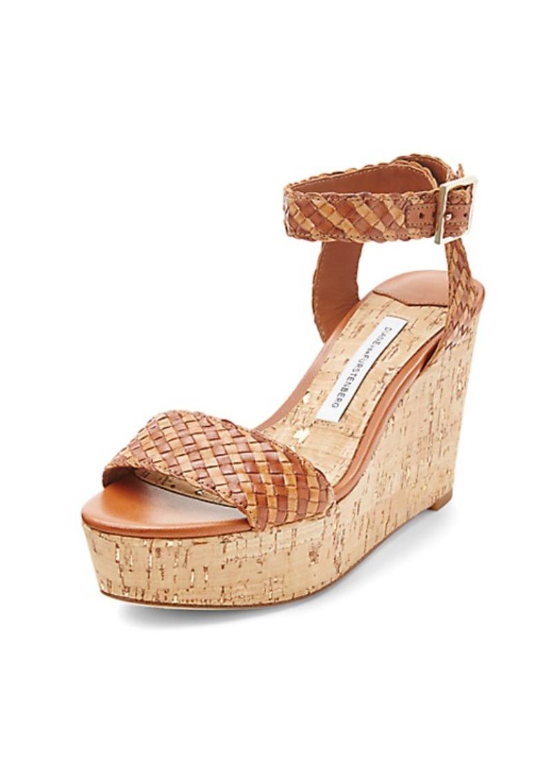 Diane Von Furstenberg Montclair Basketweave Leather Wedge