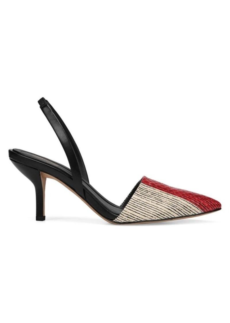 Diane Von Furstenberg Mortelle Red & Black Snake Slingbacks