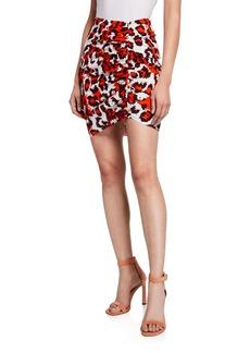 Diane Von Furstenberg Nadia Printed Ruched Short Skirt