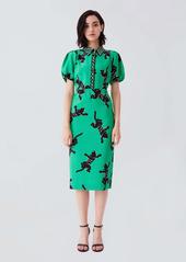 Diane Von Furstenberg New Elly Cady Dress in Climbing Panther Green