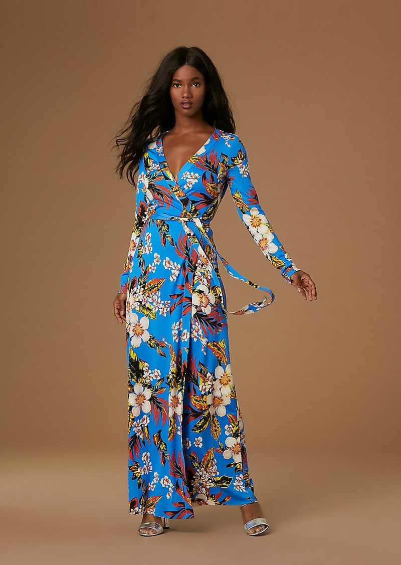 dd7b49dbf35 Diane Von Furstenberg New Julian Long Banded Silk Jersey Wrap Dress ...