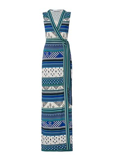 New Yahzi Long Silk Jersey Maxi Wrap Dress