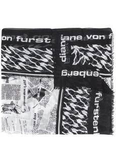 Diane Von Furstenberg newspaper print scarf