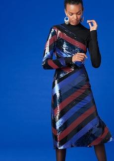 Diane Von Furstenberg One-Shoulder Bias Sequin Dress